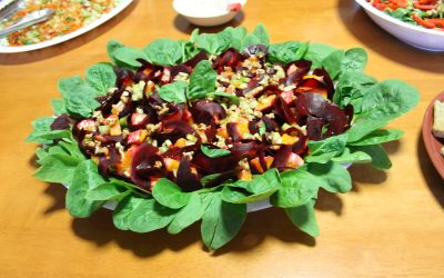 Spinach Salad With Shaved Beets & Asparagus