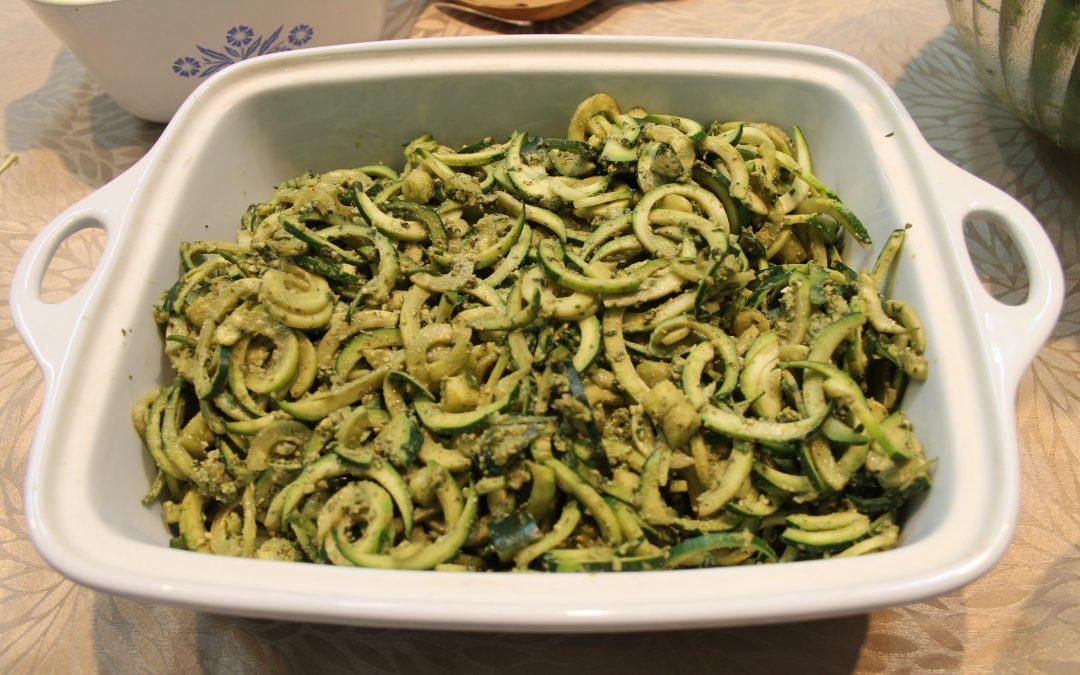 Zucchini Noodles with Basil Walnut Pesto