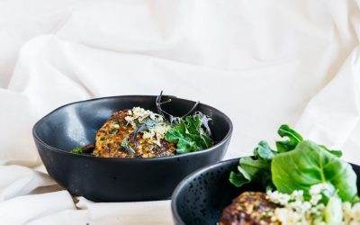 Zucchini & Prune Fritters with Quinoa Salad